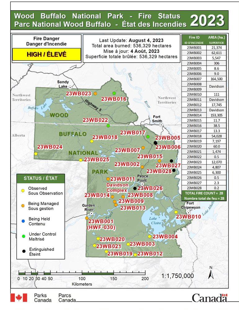 Carte de l'état des feux de forêt